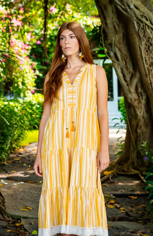 Yellow Striped Aditi Dress - The Kemble Shop