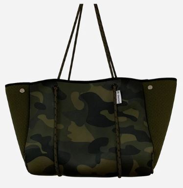 Camouflage Neoprene Beach Tote w/Tassels - The Kemble Shop