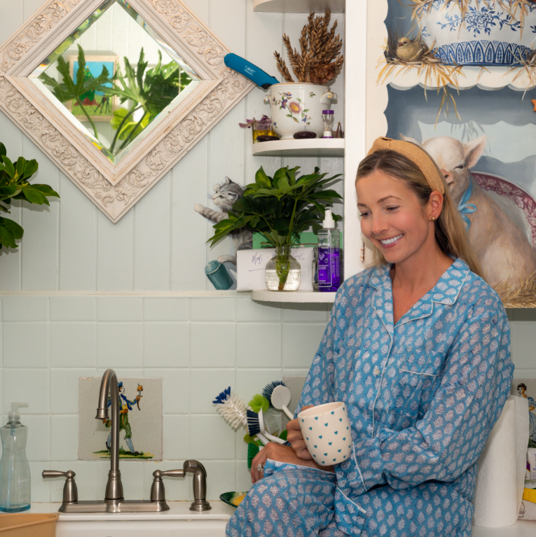 Deep Periwinkle Floral Palm Beach Pajamas - The Kemble Shop