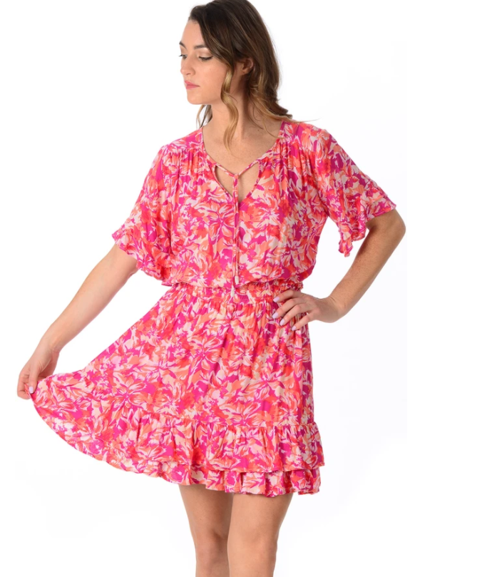 Fuchsia Floral Courtney Dress - Walker & Wade - The Kemble Shop