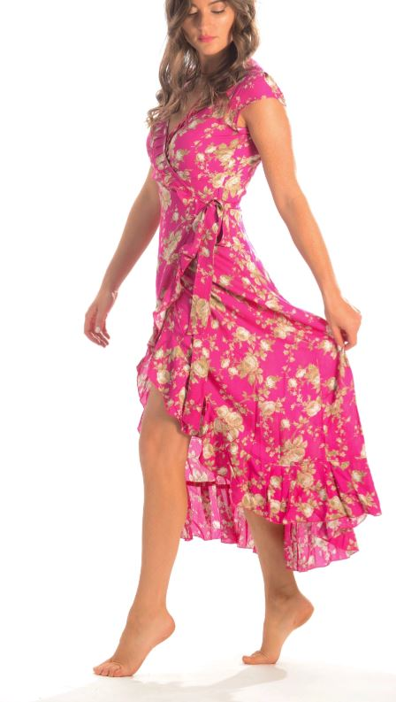 Hot Pink Floral Voyager Dress - Walker & Wade - The Kemble Shop