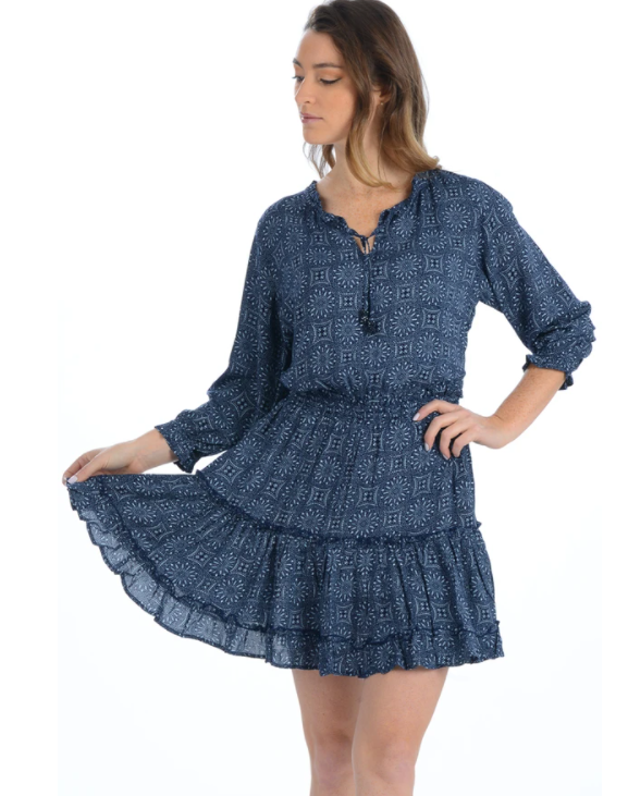 Deep Indigo Medallion Ibiza Dress - Walker & Wade - The Kemble Shop