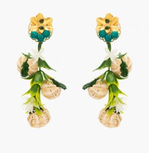 Tropics Green Raffia Earrings - thekembleshop-2