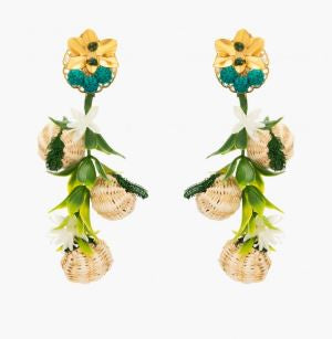 Tropics Green Raffia Earrings - The Kemble Shop