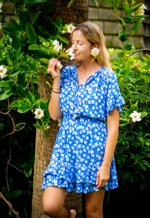 Cobalt Floral Courtney Dress - Walker & Wade - The Kemble Shop