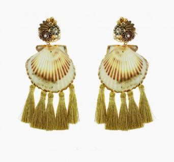 Fiesta Tassel Gold Shell Earrings - The Kemble Shop