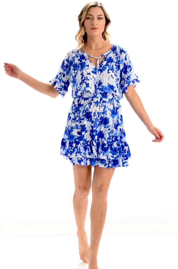 Blue Watercolor Courtney Dress - Walker & Wade - The Kemble Shop