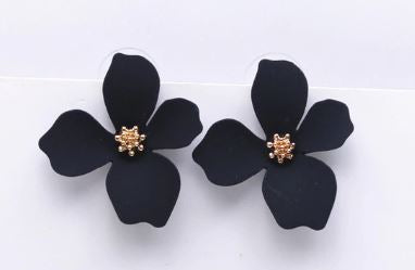 Black Floral Earrings - The Kemble Shop