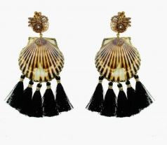 Fiesta Black Tassel Shell Earrings - The Kemble Shop