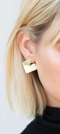 Brass Shine Square Earrings - The Kemble Shop