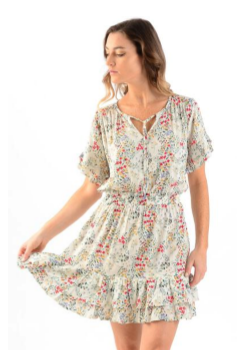 Ivory Floral Courtney Dress - Walker & Wade - The Kemble Shop