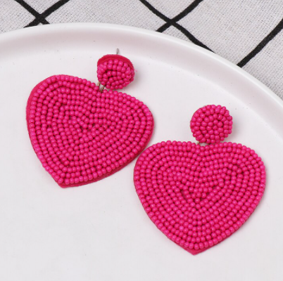 Lucky Hearts Hot Pink Beaded Earring - The Kemble Shop