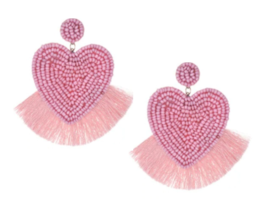 Lucky Hearts Pink Beaded Tassel Earring - The Kemble Shop