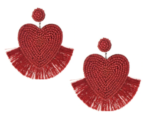 Lucky Hearts Red Beaded Tassel Earring - The Kemble Shop