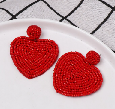 Lucky Hearts Red Beaded Earring - The Kemble Shop