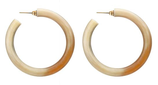 Horn Hoop Earrings - Natural - The Kemble Shop