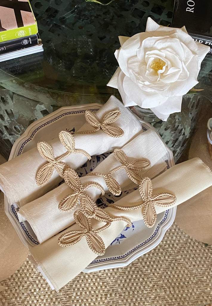 Iraca Palm Floral Napkin Holders (6) - The Kemble Shop