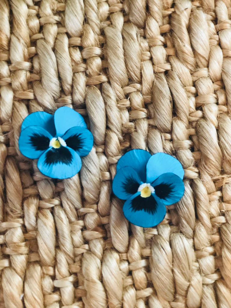 Turquoise Large Pansy Earrings - The Kemble Shop