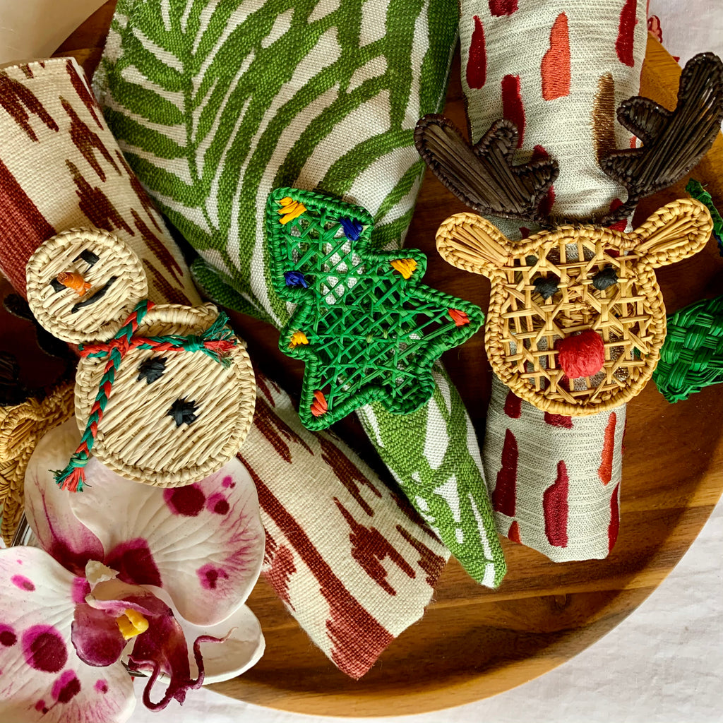 Iraca Palm Rudolph Napkin Holders (6) - The Kemble Shop