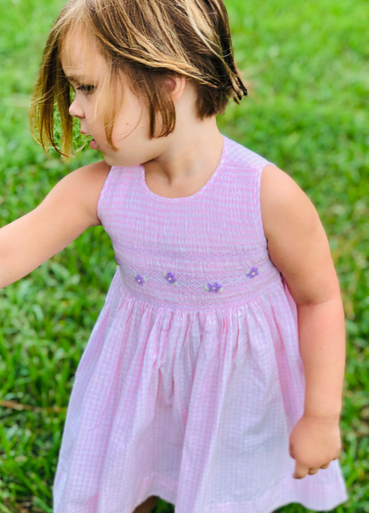 Girls Pink Smocked Floral Dress - The Kemble Shop