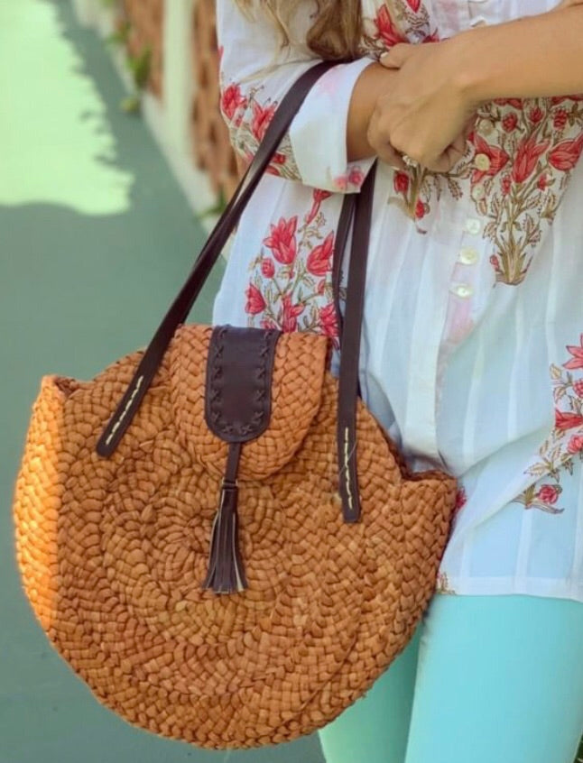 Burnt Orange Woven Tote - The Kemble Shop