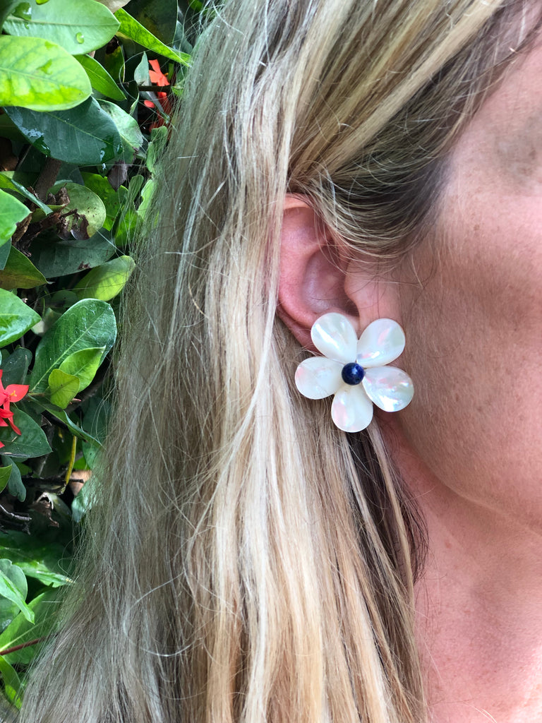 Polly Navy Blue Bead Earrings - The Kemble Shop