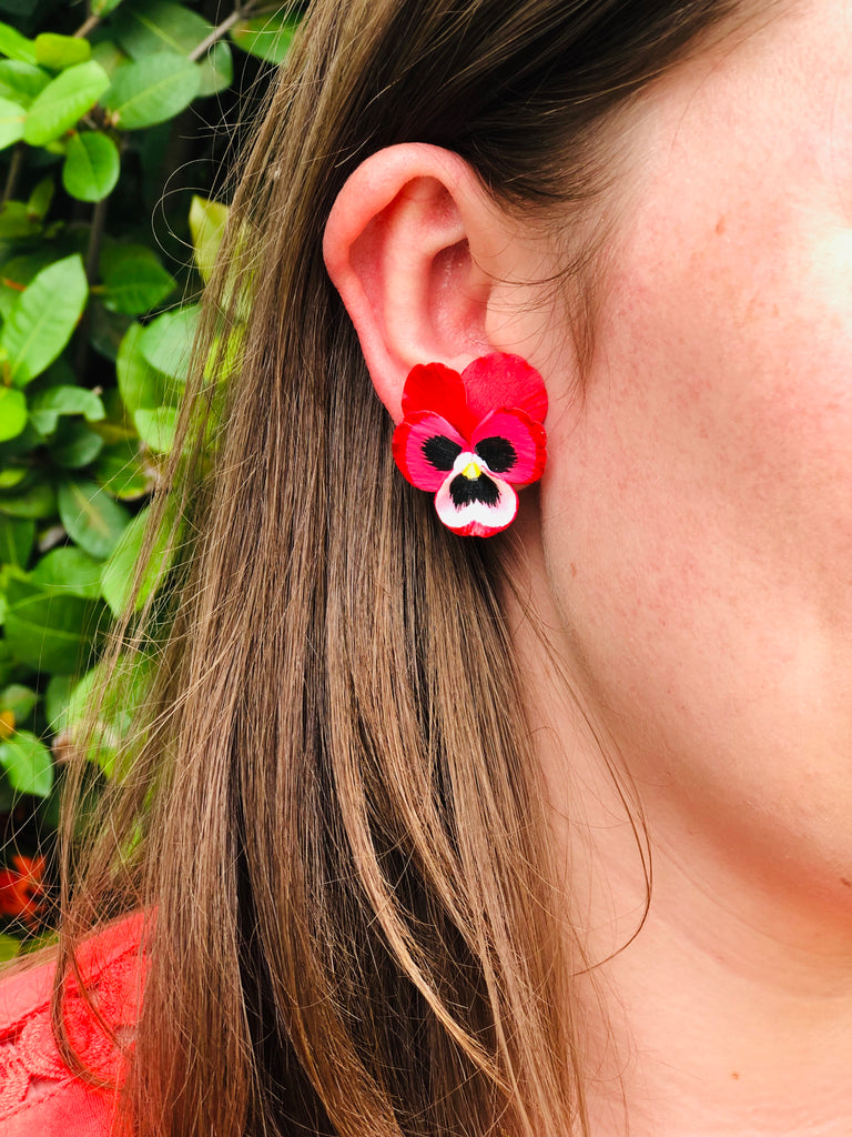 Pre Order Red Medium Pansy Earring - thekembleshop-2