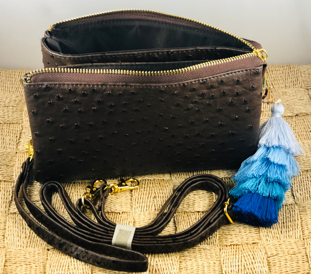Chocolate Small Faux Ostrich Clutch w/ Tassel - The Kemble Shop