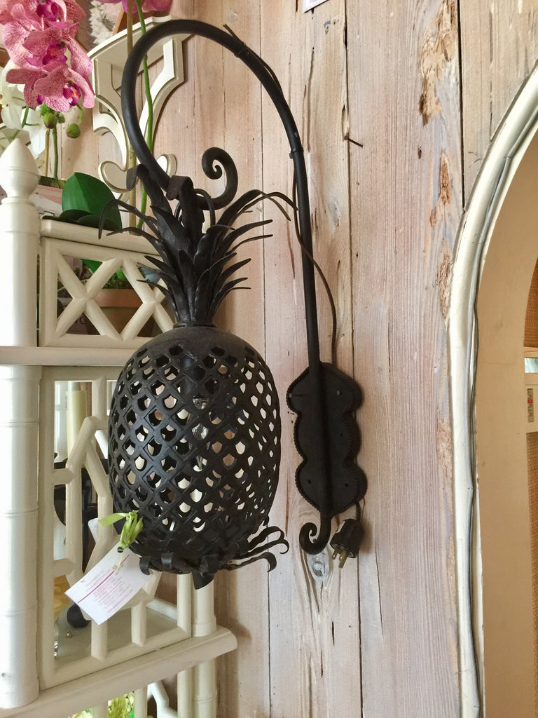 Black Powder Coated Pineapple Sconces w/Arm - thekembleshop-2