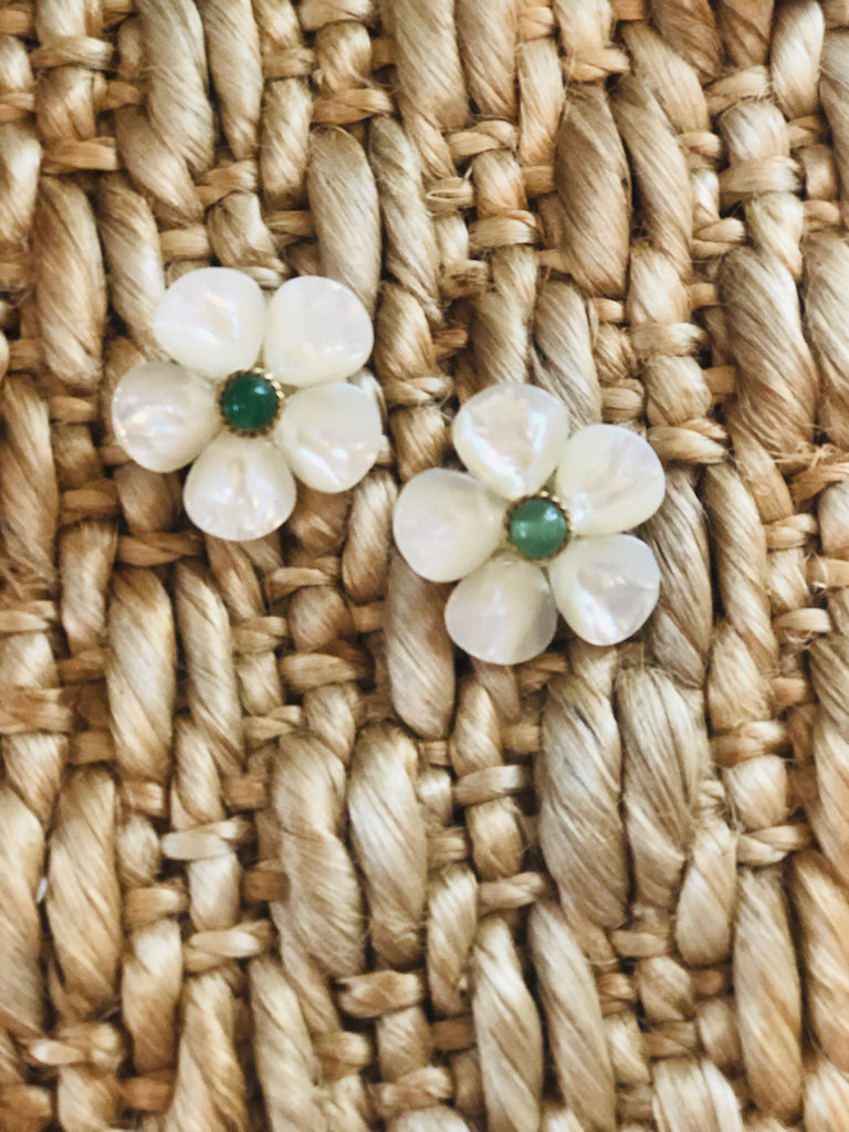 Polly Green Gold Rim Earrings - thekembleshop-2
