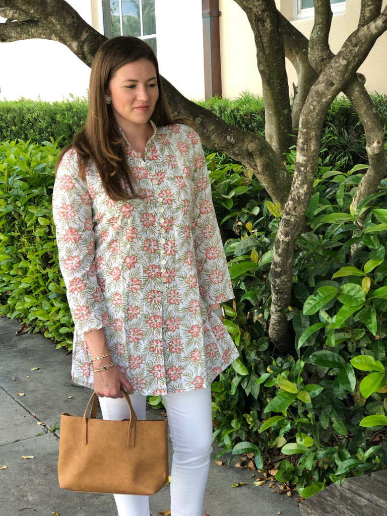 Floating Pink Floral Palm Beach Tunic - The Kemble Shop