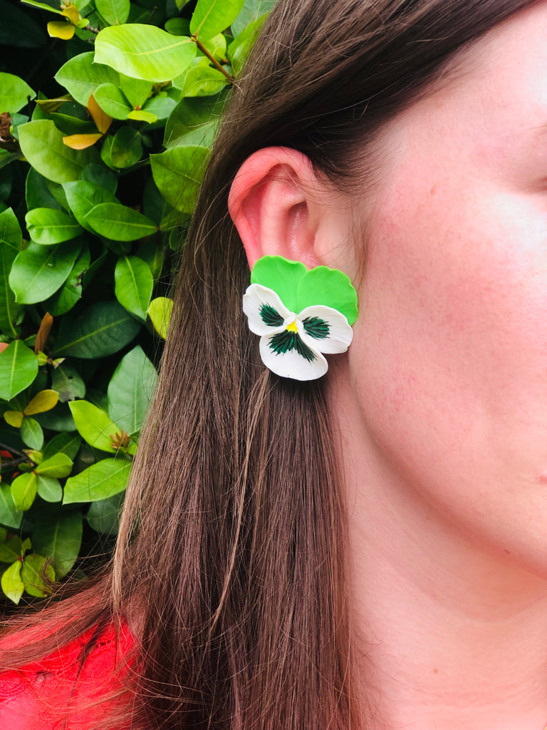 Green and White Large Pansy Earrings - The Kemble Shop
