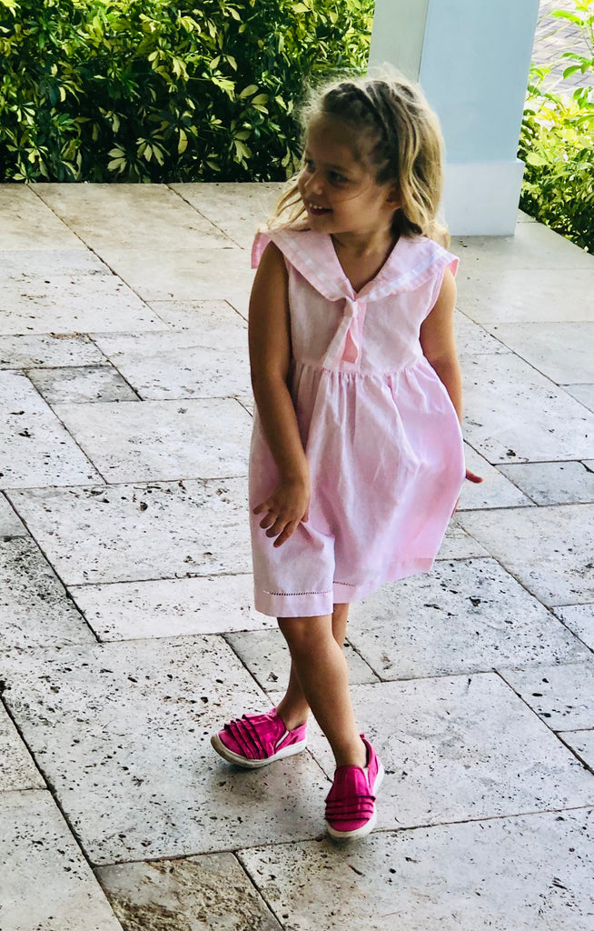 Girls Pink Sailor Dress - The Kemble Shop