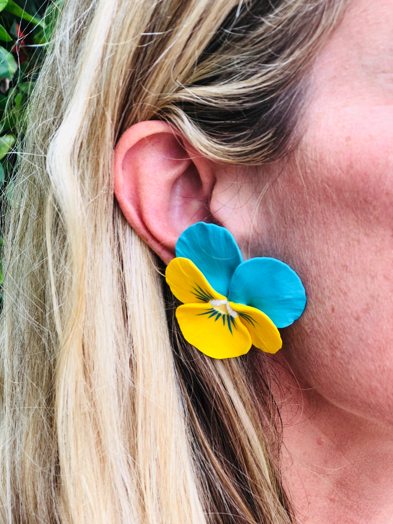 Yellow and Blue Large Pansy Earring - thekembleshop-2