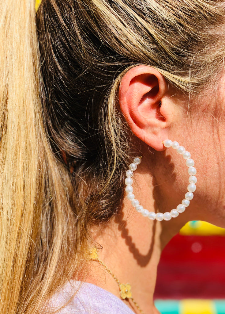 Pearl Party Hoop Earrings - The Kemble Shop