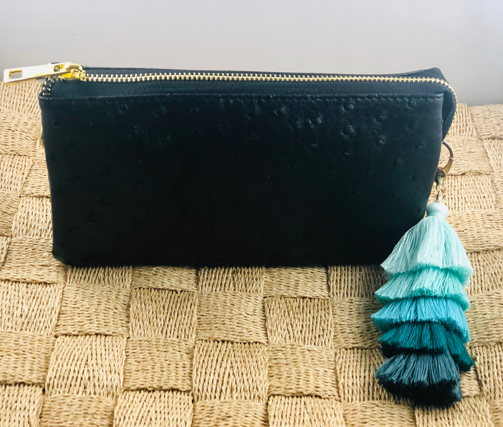 Black Small Faux Ostrich Clutch w/ Tassel - The Kemble Shop