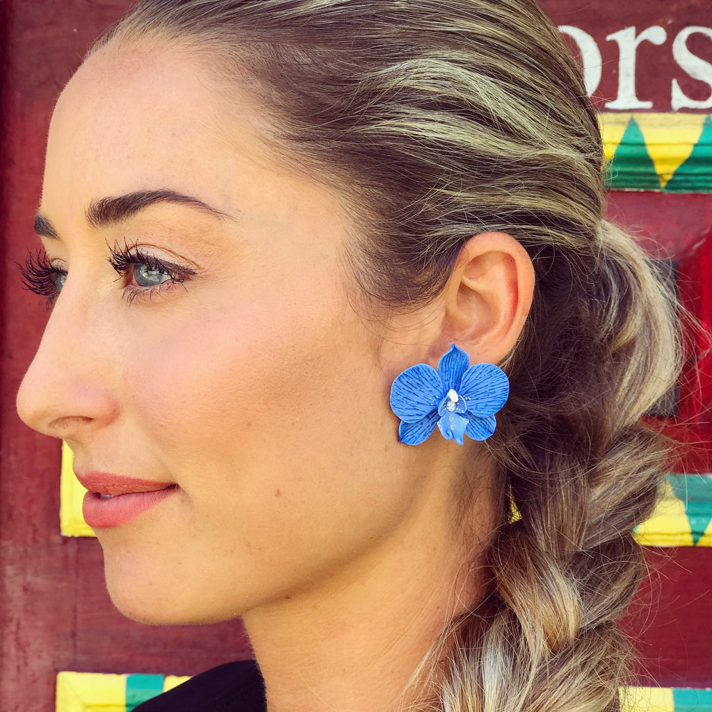 Deep Blue Orchid Earrings - thekembleshop-2