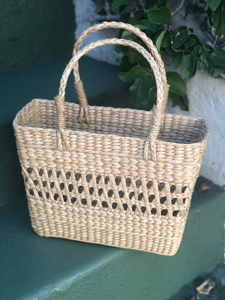 Natural Grass Woven Tote - Small - The Kemble Shop