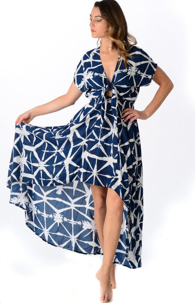 Navy Brush Stroke Delray Dress - Walker & Wade - The Kemble Shop