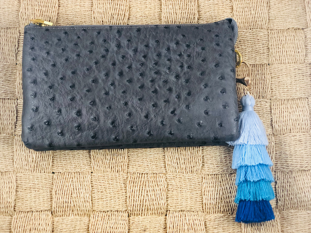 Charcoal Small Faux Ostrich Clutch w/Tassel - The Kemble Shop