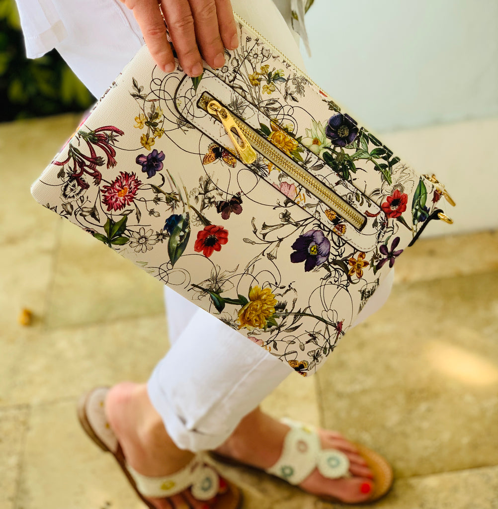 Large Floral Zipper Clutch - The Kemble Shop