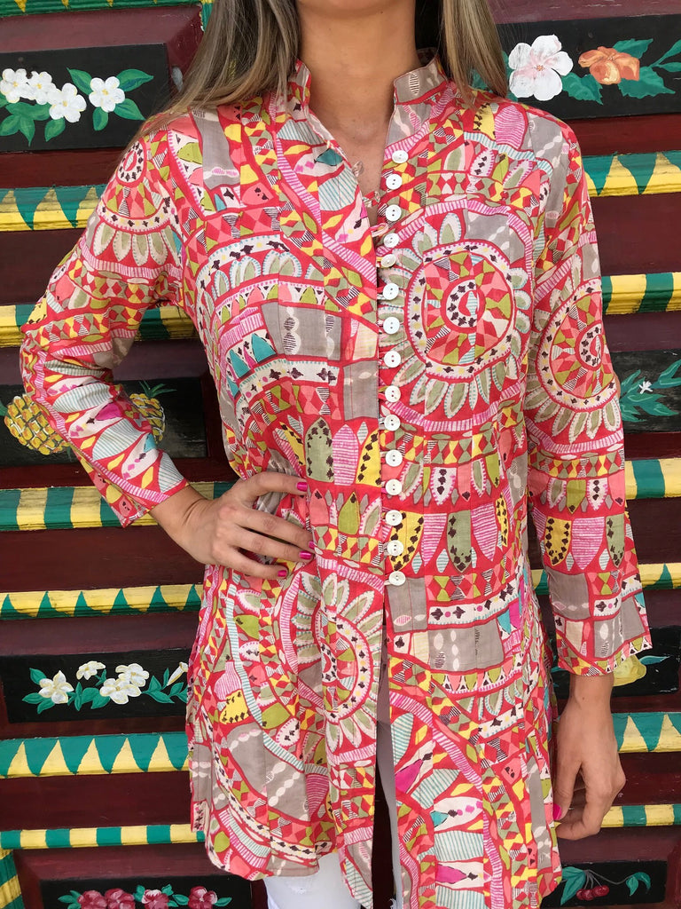 Orange Geo Palm Beach Tunic - The Kemble Shop