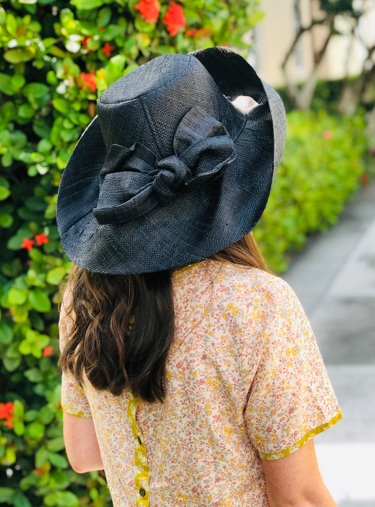 Black Rattan Hat w/ Bow - The Kemble Shop