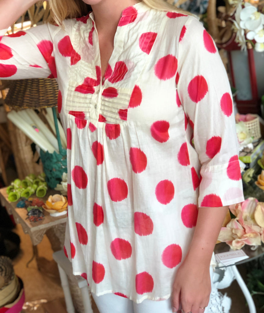Pink Polka Dot Pullover Tunic - The Kemble Shop