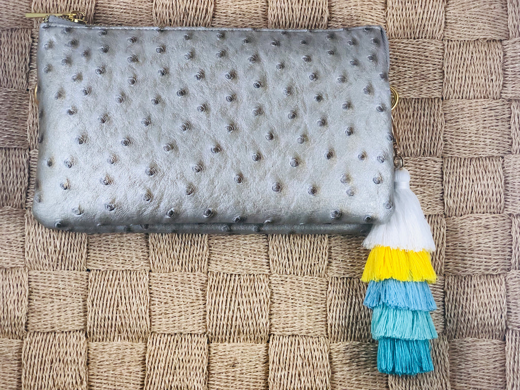 Silver Small Faux Ostrich Clutch w/Tassel - The Kemble Shop