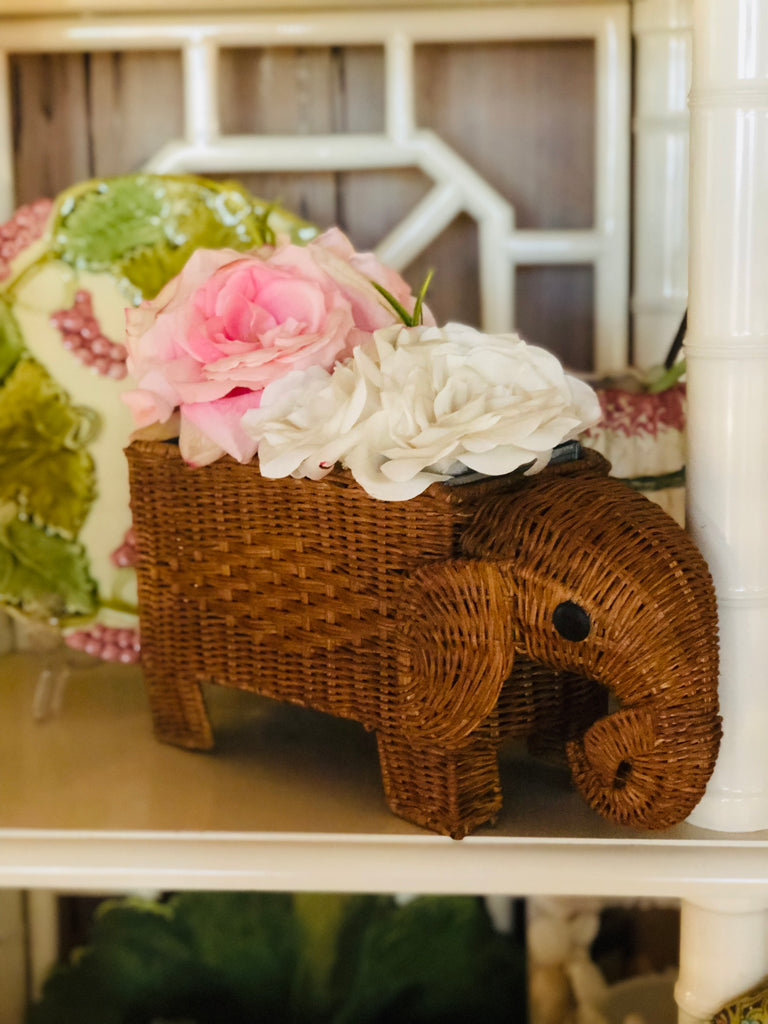 Varnished Wicker Elephant Planter - thekembleshop-2