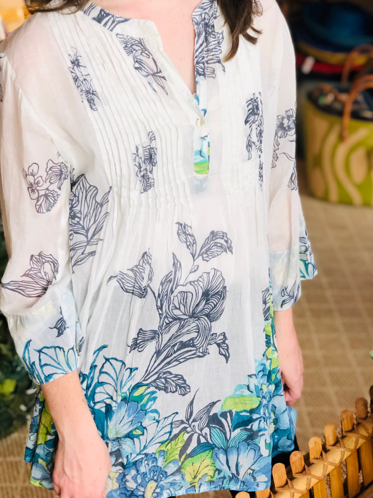 Blue Floral Pullover Tunic - The Kemble Shop