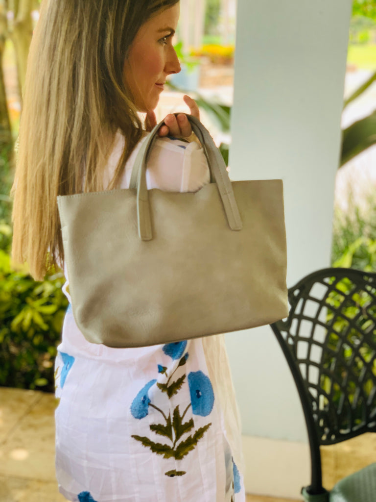 Pewter Medium Half Tote - The Kemble Shop