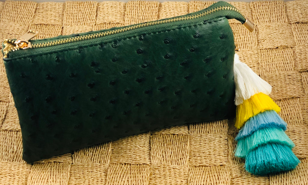 Forest Green Small Faux Ostrich Clutch w/Tassel - The Kemble Shop