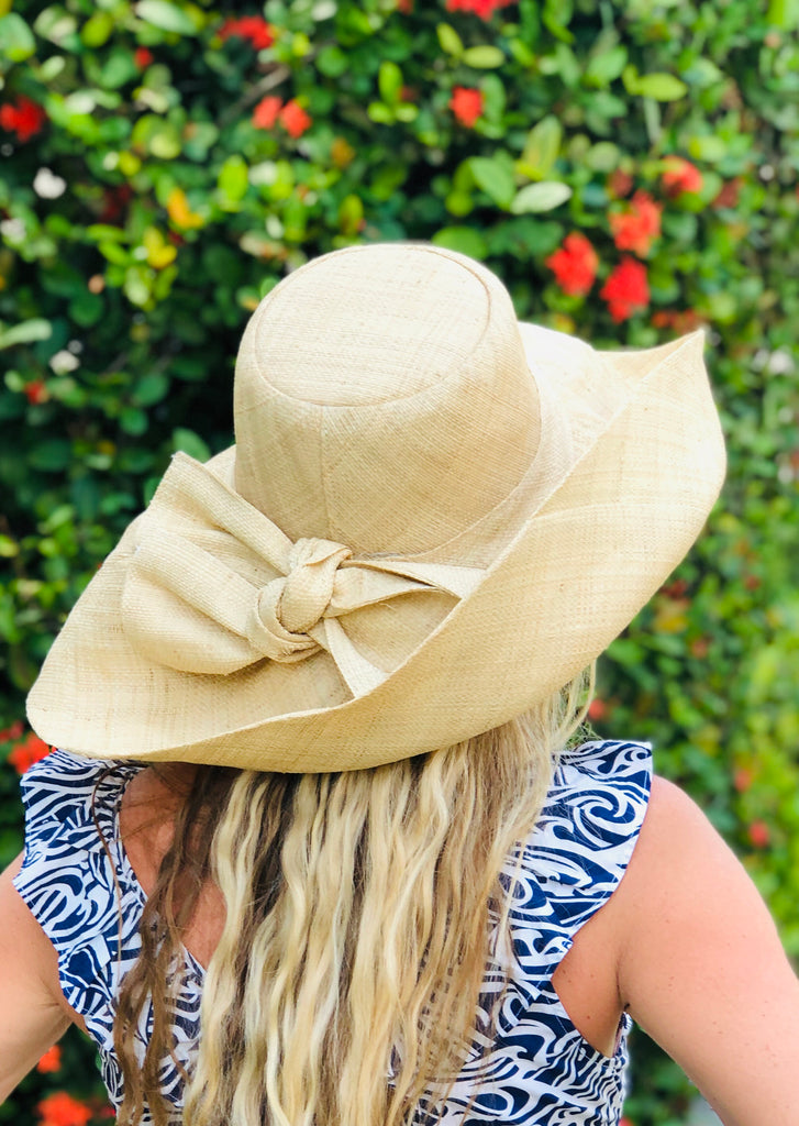 "7"" Natural Classic Raffia Hat w/Bow - The Kemble Shop"